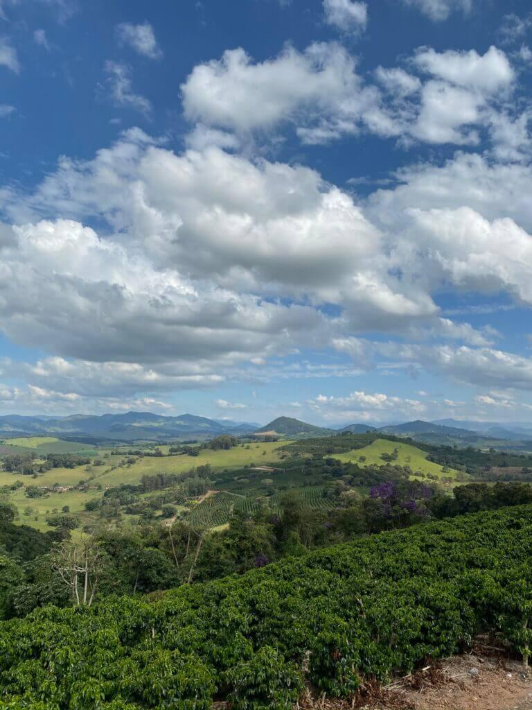 Fotografia do Sítio Jacarandá, paisagem com as árvores de café, as montanhas ao fundo e um céu azul repleto de nuvens brancas