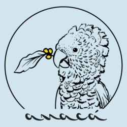 Ícone Anacá, ave anacã segurando um ramo de café com frutos amarelos, fundo azul